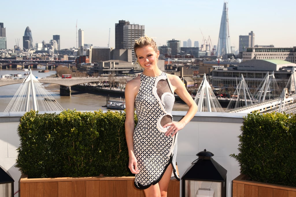 Brooklyn Decker dazzled in a blue and white dress with a swirl design at a photocall for Battleship in London.
