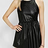 Form-flattering leather comes by way of a long Sparkle & Fade tank ($20, originally $59) cinched right at the middle.