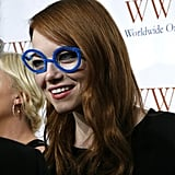 Emma Stone put on funny pipe-cleaner glasses.