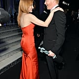 Jessica Chastain stopped for a talk with Modern Family's Jesse Tyler Ferguson.