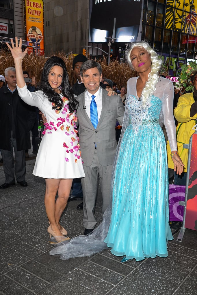 George Stephanopoulos and Alexandra Wentworth as George Clooney and Amal Alamuddin