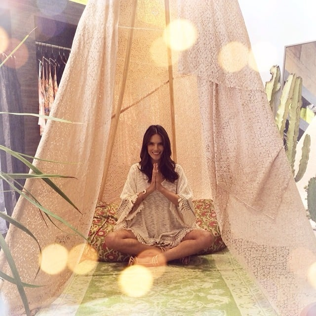 "Alessandra Ambrosio was ""feeling blessed"" in a tent doing yoga. Source: Instagram user alessandraambrosio"