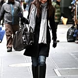 Katie Holmes wore a grey scarf and black coat to go out in NYC.