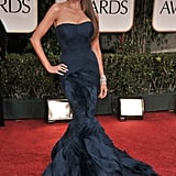 Sophia nailed Old Hollywood glamour in a midnight-blue Vera Wang fishtail number at the 2012 Golden Globe Awards.