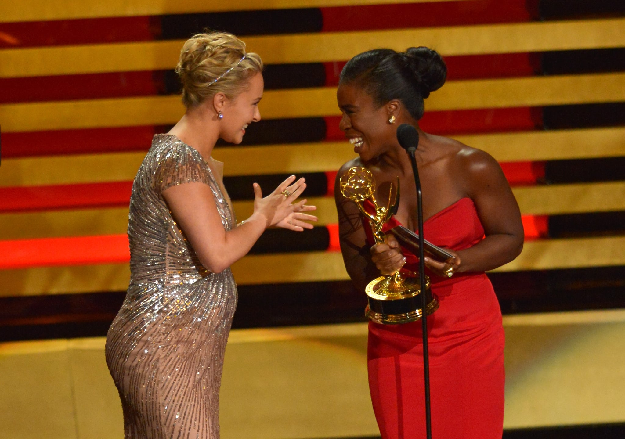 Uzo Aduba and Hayden Panettiere joked on stage.