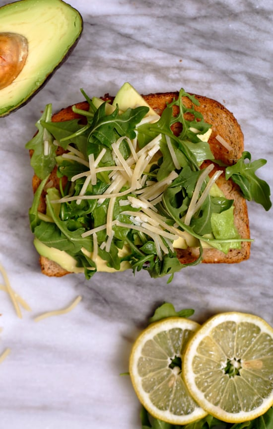 Arugula, Parmesan, and Lemon Juice Avocado Toast