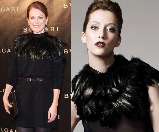 Julianne Moore Wearing Black Feather Circle Scarf