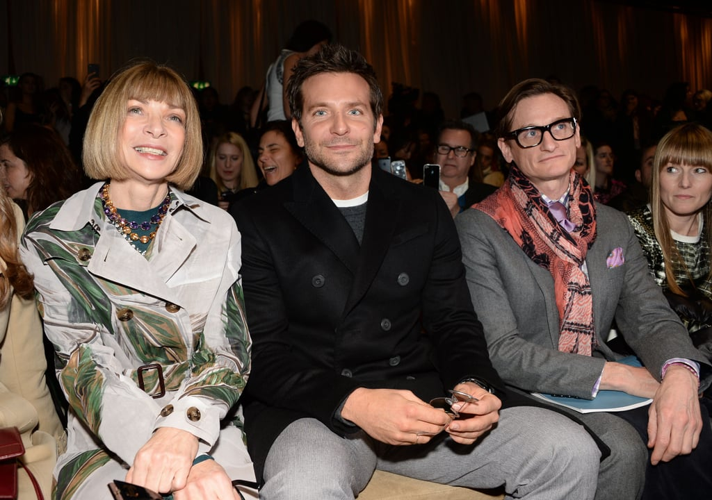 "Bradley Cooper was given a prime spot at Monday's Burberry Prorsum fashion show in London. The actor, who was in town to attend the 2014 BAFTA Awards on Sunday, sat next to Vogue Editor in Chief Anna Wintour while he watched girlfriend Suki Waterhouse do her supermodel strut down the runway. The couple's schedule perfectly aligned this week, allowing Suki to attend to her model duties and Bradley to mix in his award season obligations in one city. The pair, who met at a fashion party in London one year ago, have been going more and more public with their romance over the past few months, and they made their red carpet debut as a couple at the White House State Dinner for French President Francois Hollande last Tuesday. Suki even opened up about her relationship with Bradleyin a recent interview, explaining that she rarely talks about him because reporters don't ask her since they assume she'll refuse to answer. However, she did say that the two hit it off almost immediately and that Bradley is ""a ridiculously good dancer."" Suki was by Bradley's side at Sunday's BAFTA Awards, although she didn't walk the red carpet. Bradley wasn't the only celebrity to make an appearance in the front row. One Direction's Harry Styles also held a prime place at the Burberry show. The teen heartthrob was probably at the show to check out his friend (and former flame) Cara Delevingne as she walked the runway with Suki."
