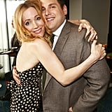 Leslie Mann greeted Jonah Hill with an embrace.