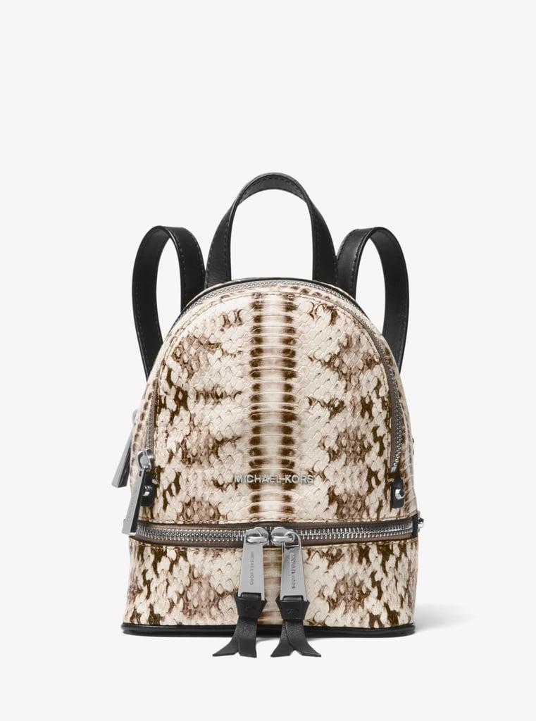 Michael Kors Rhea Mini Snake-Embossed Leather Backpack