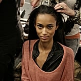 A model strikes a pretty pose while getting her hair red-carpet ready. Photo: Megan Holmes