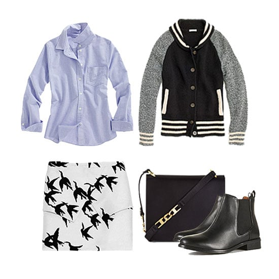 We played off the old-school feel and added the oxford button-down to give a modern, printed skirt and a pair of on-trend Chelsea boots a classic contrast. Finish with an understated crossbody bag for a look that could take you from office-casual to weekend errands. Get the look:  Madewell Letterman Sweater-Jacket ($158) Madewell True Love Shrunken Oxford ($60) Tibi Paloma Skirt ($290) BCBG Max Azria Astor Leather Cross-Body Bag ($168) Topshop April Classic Chelsea Boots ($124)