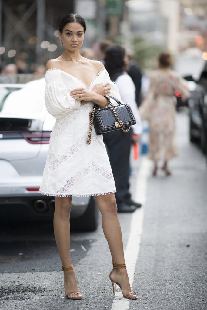 Shanina Shaik Was Seen Wearing a White Lace Minidress