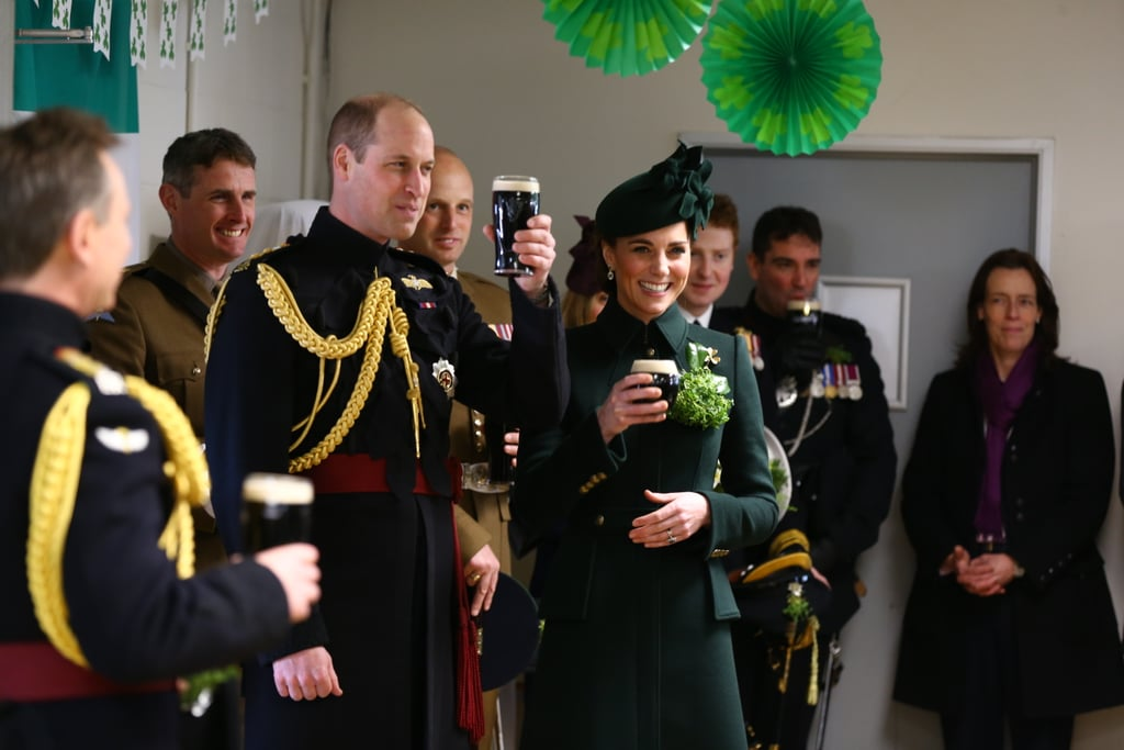 Prince William and Kate Middleton celebrated St. Patrick's Day in their usual way on Sunday, with an appearance at the UK's 2019 parade. Kate embraced the festivities in her emerald green coat and hat, while William looked dashing in his traditional attire.   The royal couple presented the Irish guardsmen with shamrocks for the holiday, and Kate had the honour of pinning one on the regimental mascot: a huge Irish Wolfhound. Appropriately, they ended the outing with a couple pints of Guinness. I wonder if Kate got to show off her perfect pour?  William and Kate have been married for almost eight years, and their chemistry is as cute as ever. Kate still gets the giggles when William jokes around! They've shared a number of sweet moments together at their annual St. Patrick's Day celebrations, and this year was no exception. Ahead, see more photos from their festive day out.       Related:                                                                                                           Harry and Meghan Are Splitting From Their Charity With Will and Kate — Here's Why