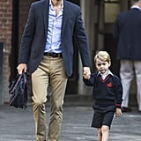 He held onto George's hand as he attended his first day of school.