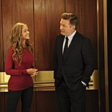 It looks like Richards's character and Jack Donaghy share a sweet moment in the elevator.  Photo courtesy of NBC