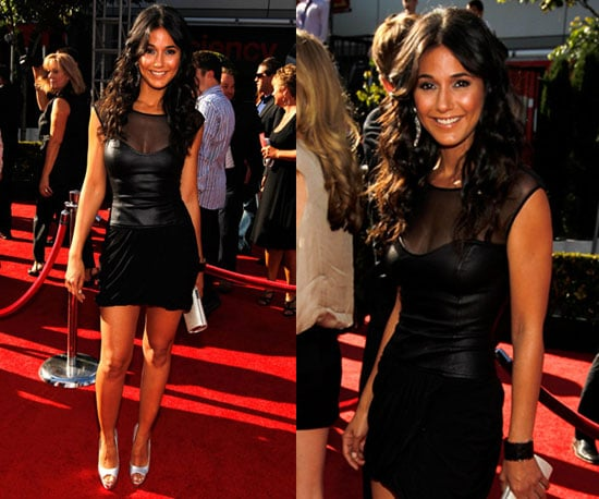 Emmanuelle Chriqui Wearing Black Leather BCBG Dress to 2010 ESPY Awards