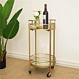 Glitzhome Round Gold Bar Carts
