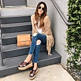 Casual-Chic With a Fringe Cardigan and Platform Sandals