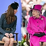 Kate and Queen Elizabeth Chatting 2012
