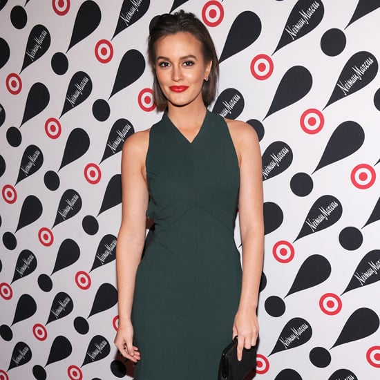 Leighton Meester Wearing Dark Green Dress