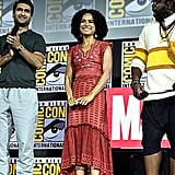 Pictured: Kumail Nanjiani, Lauren Ridloff, and Brian Tyree Henry at San Diego Comic-Con.
