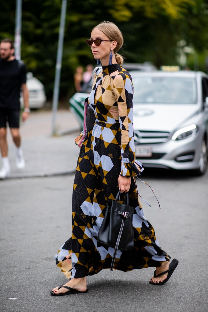Styling a black pair with a printed dress.
