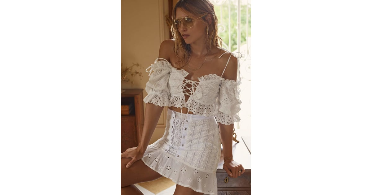 3358d94f3b49 For Love & Lemons Anabelle Eyelet Crop Top and Hermosa Eyelet Mini Skirt |  Best For Love & Lemons Clothes 2018 | POPSUGAR Fashion Australia Photo 4