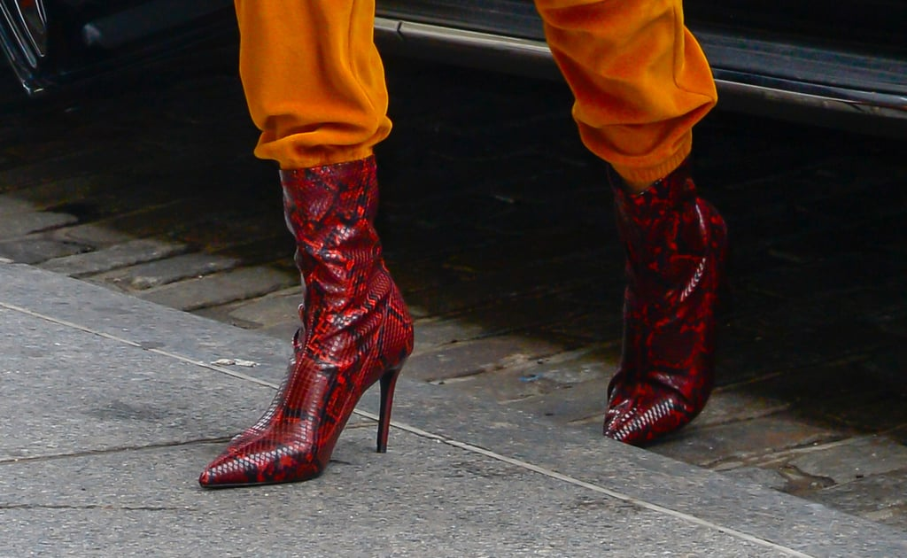 Gigi Hadid Red Snakeskin Boots From