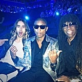Jared Leto shared a photo while getting ready to hit the stage with Pharrell Williams and Nile Rodgers. Source: Instagram user jaredleto