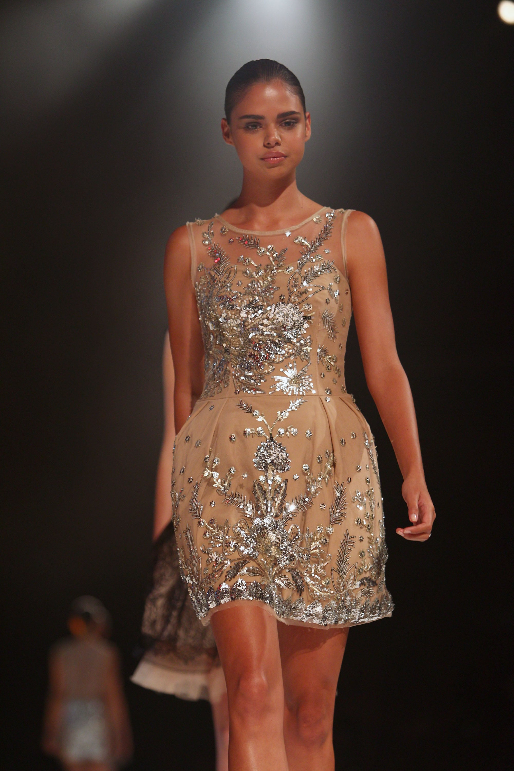 Samantha Harris modelled this gorge frock as part of the runway component to the LMFF show.
