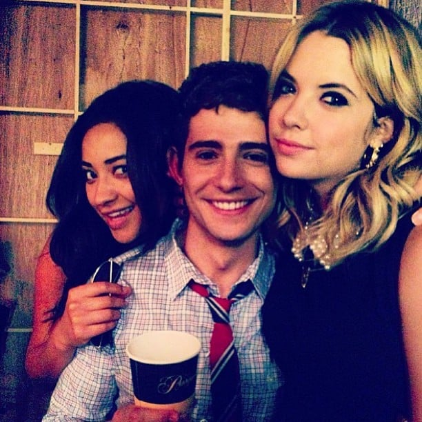 Ashley Benson and Shay Mitchell posed with Julian Morris while on the set of Pretty Little Liars.