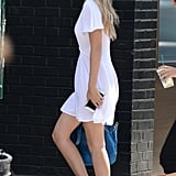Gigi Hadid Wearing White Minidress
