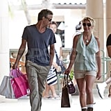 Jason glanced admiringly at Britney while in Hawaii in August 2010.