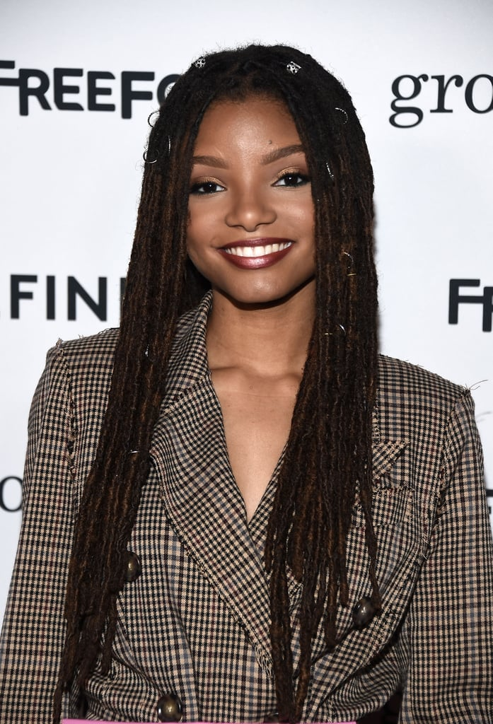 Halle Bailey in a Dark Brown Lip