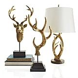 Golden Deer Head Bust ($50), Golden Antler Finial ($60), and Antler Lamp ($89)