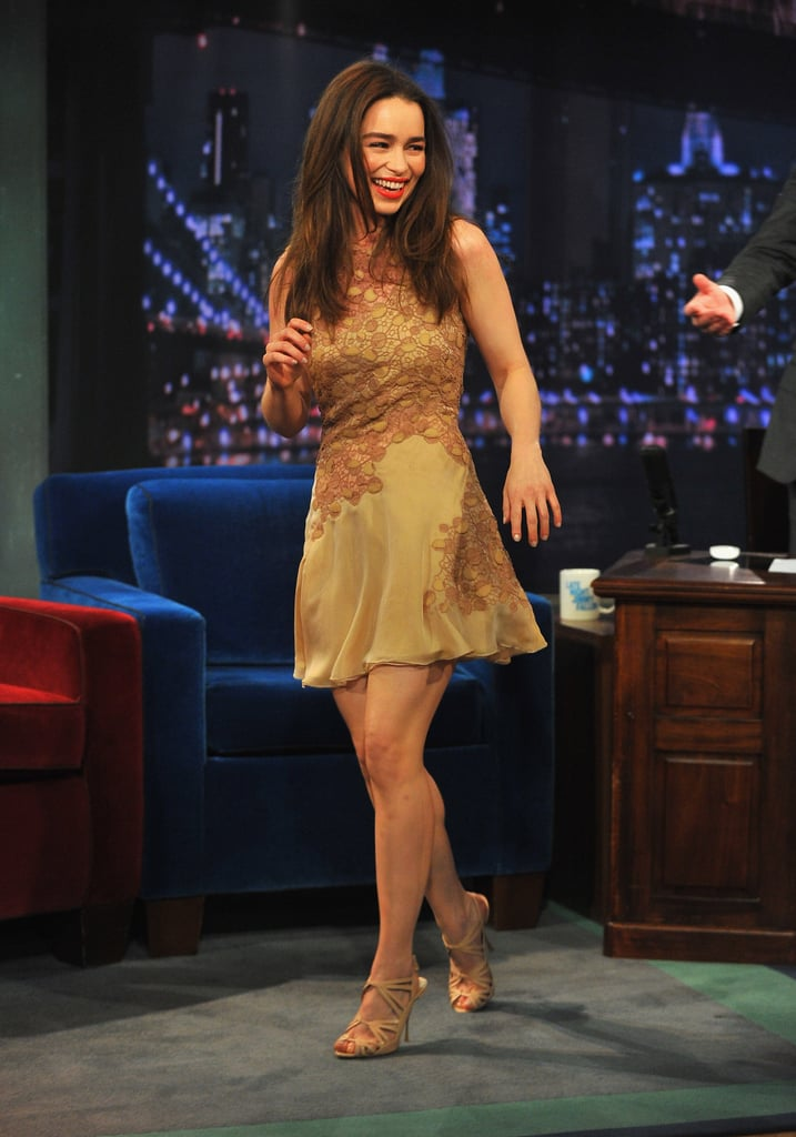 Game of Thrones' Emilia Clarke — sans the platinum-blond wig — visited Jimmy Fallon in a thigh-skimming Versace Spring '13 number.