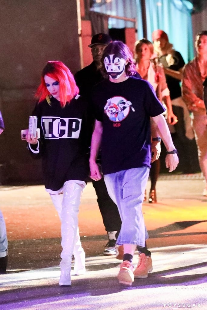 """Is it cuffing season or spooky season? For Halsey and Evan Peters, it's both! On Friday night, the 25-year-old """"Clementine"""" singer made their relationship Instagram official with a snap of them at her Halloween party in Los Angeles. Evan dressed as a Juggalo — a fan of hip-hop duo Insane Clown Posse — and Halsey went as shock rocker Marilyn Manson. """"Resident goths,"""" Halsey captioned her post. After the gathering, Halsey and Evan, 32, left together, hand in hand. Halsey and Evan's Instagram debut as a couple comes about a month after they were spotted hanging out together at Six Flags Magic Mountain. Us Weekly then confirmed that they had been seeing each other """"for several weeks."""" However, Halsey's affection for Evan dates back to 2012, when she tweeted about her attraction to one of his American Horror Story characters. Although Halsey was notably linked to G-Eazy from 2017 to 2018 and Evan had an on-and-off relationship with Emma Roberts from 2012 to 2018, it seems like they're moving on just fine with the new romance. Look ahead to see more photos from their Halloween outing!      Related:                                                                                                           Struck by Cupid's Arrow! All the New Celebrity Romances of 2019"""