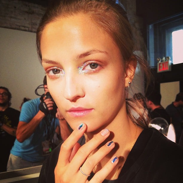 The look at ICB by Prabal Gurung had a holographic effect; the nails featured simple, linear nail art.