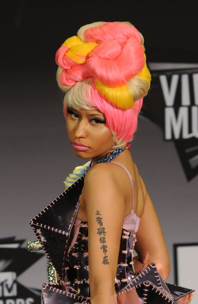 Her candy-coloured lipstick matched her multi-coloured hair at the 2011 MTV Video Music Awards.
