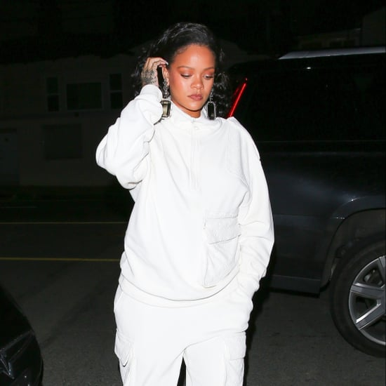 Rihanna's White Fuzzy Heels January 2019