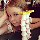 Stella McDermott showed off her architectural talent during a diner meal with her mom, Tori Spelling. Source: Instagram user torianddean