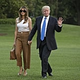 Melania Carrying a Brown Hermès Birkin Bag