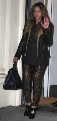 Beyonce in Alexander McQueen Animal Print Leggings