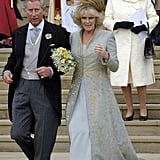 Prince Charles and Camilla Parker Bowles   The Bride: Camilla Parker Bowles, the onetime lover of Prince Charles who divorced her first husband in 1995. The Groom: Charles, Prince of Wales, Britain's longest-serving heir apparent. When: April 8, 2005. It was delayed a day so Prince Charles and other guests could attend the funeral of Pope John Paul II. Where: Charles became the first member of the royal family to marry in a civil ceremony. It took place at Windsor Castle and was followed by a religious blessing at St. George's Chapel. The queen chose not to attend the civil marriage but did attend the religious blessing and host a reception after.