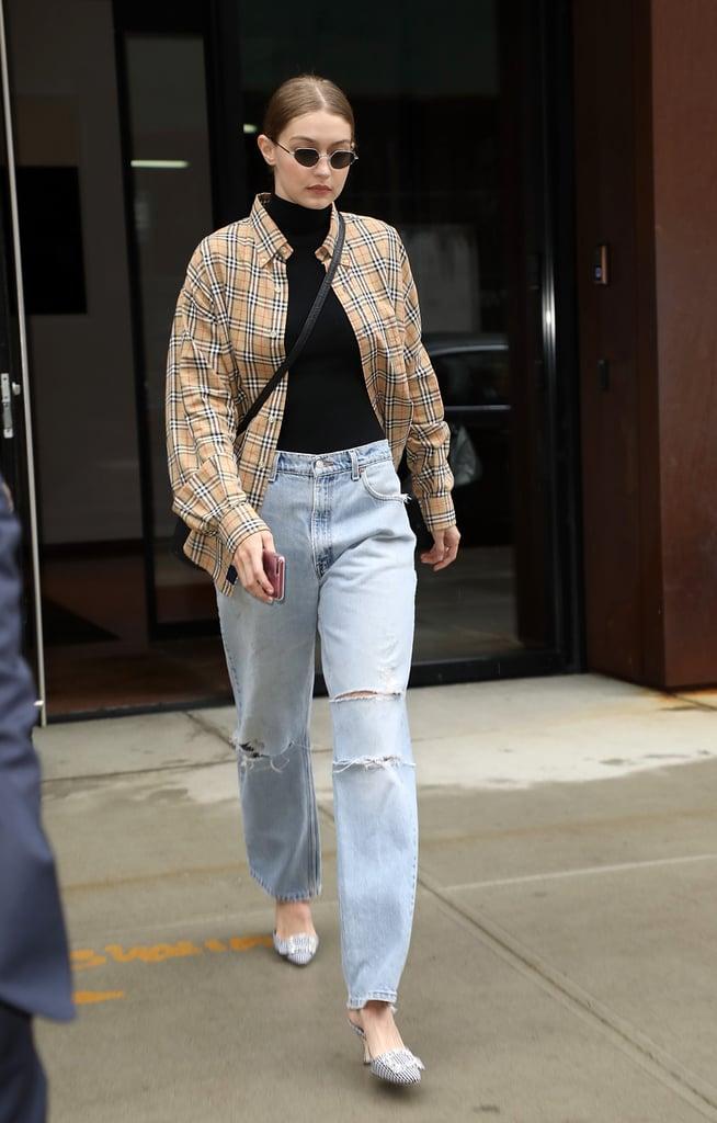 Gigi Hitting the Street in Her Burberry Shirt