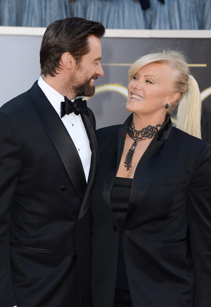 Hugh Jackman and his wife, Deborra-Lee Furness, gave each other a loving look on the Oscars red carpet.