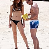 Kate Beckinsale and her husband, Len Wiseman, built sand castles on the beach while vacationing in Mexico for Labor Day in September 2010.