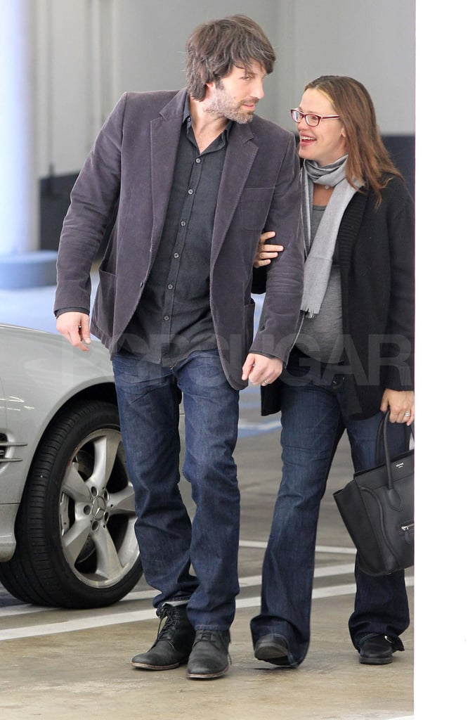 Jennifer Garner and Ben Affleck stuck together while running errands in Santa Monica today. The Monday outing followed a busy weekend for the Garner-Afflecks. They celebrated Seraphina's third birthday with a party on Friday, and Violet was treated to a special Color Me Mine visit with dad Ben yesterday. The fun isn't over for the family of four, though, as they continue to await the arrival of their fifth member. Baby number three is due any week now, giving Jennifer plenty of downtime before her next movie projects come out. She has The Odd Life of Timothy Green hitting theaters this Summer, and Butter will be released in March. Her Butter costar Hugh Jackman is up for a People's Choice Award at Wednesday's show — tune in LIVE at 8 p.m. EST/5 p.m. PST here on PopSugar for all the red-carpet and backstage action!