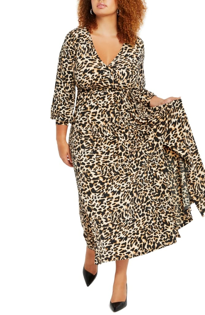 Eloquii Leopard Print Wrap Front Maxi Dress